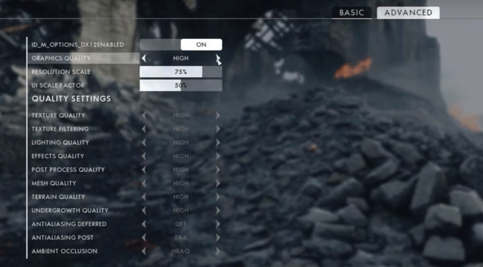 Battlefield 1 opcje graficzne